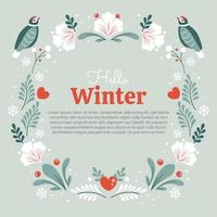 Flowers Heart Birds and Leaves Background vector