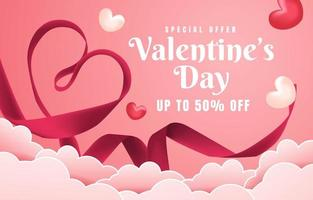 Heart Shaped Pink Fabric on a Cloud Background vector