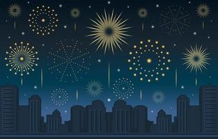 New Year Fireworks Celebration with Night Cityscape Scenery vector