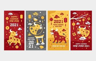 Golden Ox Chinese New Year Greeting Cards vector