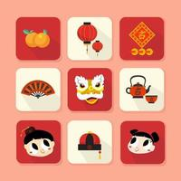 Chinese New Year Stuff Icon Set vector