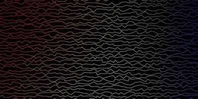 Fondo de vector multicolor oscuro con líneas curvas.