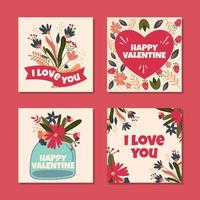 Vibrant Pink with Various Flower Designs vector