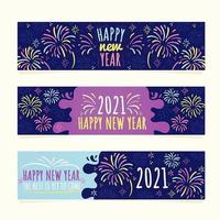 New Year Banners with Fireworks vector