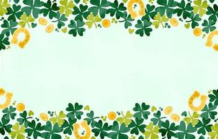 Watercolor Lucky Clovers Background