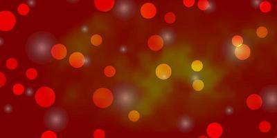 Telón de fondo de vector naranja claro con círculos, estrellas.
