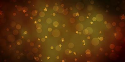plantilla de vector verde oscuro, amarillo con círculos, estrellas.