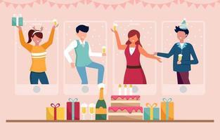 año nuevo bailando virtualmente celebración vector