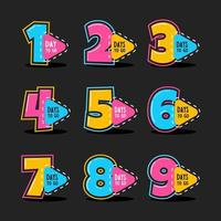 Countdown Colourfull Number Icon Set vector
