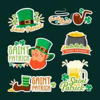 Saint Patrick Leprechaun Sticker Set vector