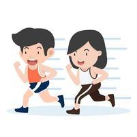 estilo de dibujos animados feliz pareja corriendo