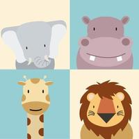 conjunto de lindos animales bebé vector