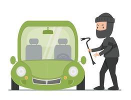 Vista frontal del coche verde con ladrón vector