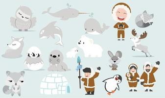 Cute Arctic cartoon collection vector