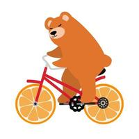 Brown bear riding an orange bicycle vector