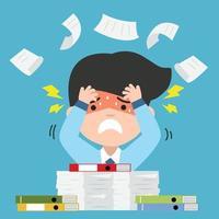 empresario estresado con una gran cantidad de documentos vector