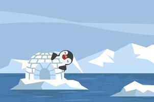 pingüino con casa de hielo iglú en el paisaje ártico vector