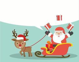 Cute Christmas Santa Claus on a a sleigh vector