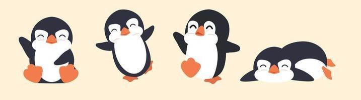 lindo, gordo, pingüino, caricatura, vector, conjunto vector