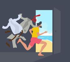empresario corriendo a la playa vector