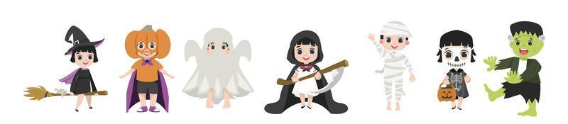 Set of funny kids dressed up for Halloween vector