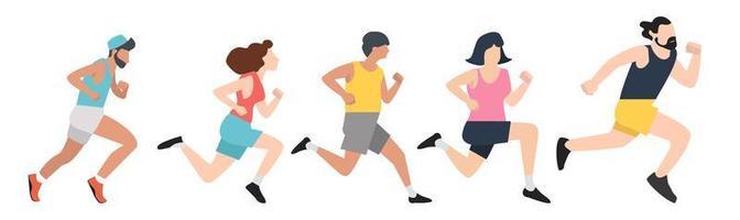 conjunto de gente deportiva corriendo