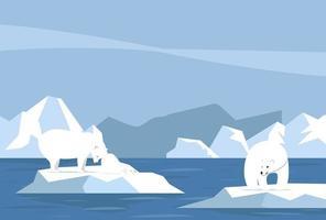 oso polar y cachorro vector