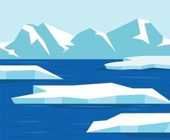 North pole or Antarctica landscape background vector