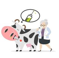 Sick cow about to get vaccinated by a veterinarian vector