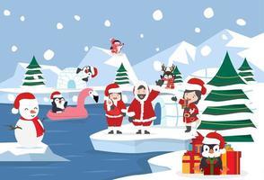 Fondo del paisaje del polo norte para la celebración navideña vector
