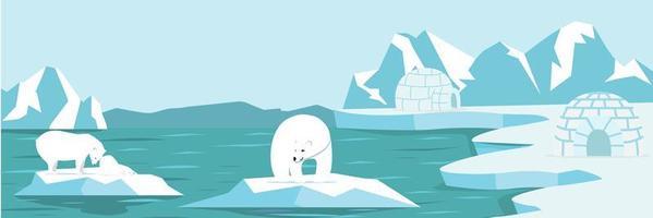 polo norte ártico con oso polar y paisaje de cachorros vector