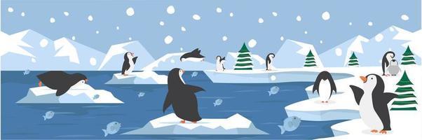 paisaje del polo norte con lindos pingüinos vector