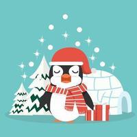 pingüino de navidad con gorro de santa vector