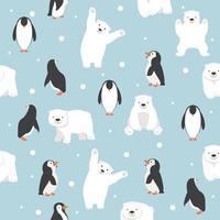 polar bears with penguins saemless pattern vector