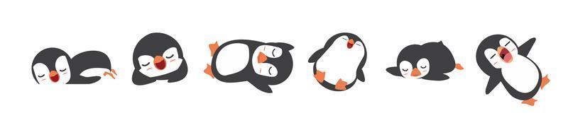 conjunto de dibujos animados de pingüinos soñolientos vector