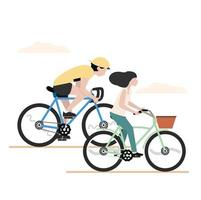 Man and woman riding bicycles together vector