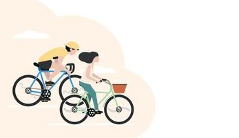 Man and woman riding bicycles banner vector