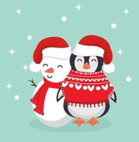 Penguin in winter clothes with Snowman vector