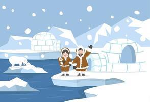 paisaje ártico con familia esquimal y casas de hielo iglú