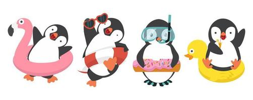 Funny penguins in swimming accessories vector
