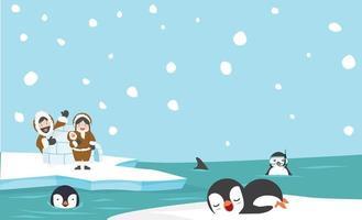 paisaje ártico en temporada de invierno con animales y familia esquimal vector
