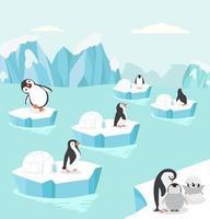 pingüinos en el fondo ártico vector