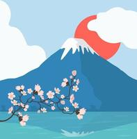 Cherry blossoms branch and Mount Fuji background vector