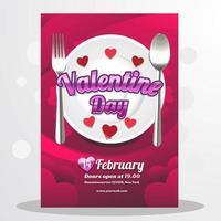 Lovely Red Valentine Day Dinner vector