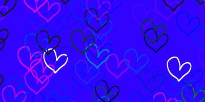 Light Pink, Blue vector texture with lovely hearts.