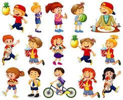 Los niños que realizan diferentes actividades conjunto de personajes de dibujos animados sobre fondo blanco. vector