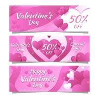 Bloom Pink Hearts Valentine Day Offer vector