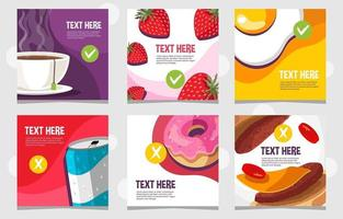 Healthy and Unhealthy Food for Social Media vector