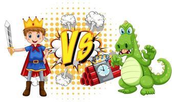 Dragón y caballero luchando entre sí sobre fondo blanco. vector