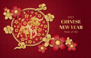 Year of Ox Red Gold Background with Oriental Ornaments vector
